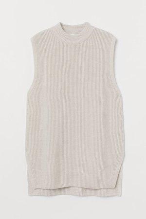 Rib-knit Sweater Vest - Light taupe - | H&M CA