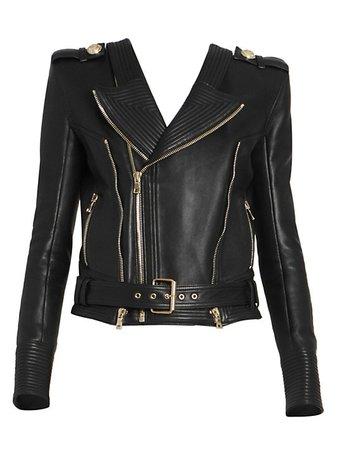 Balmain Leather Moto Jacket   SaksFifthAvenue