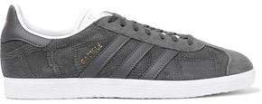 Gazelle Suede-paneled Snake-effect Nubuck Sneakers