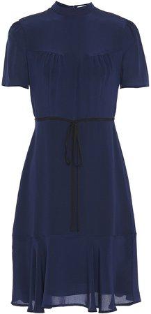 Anne Fluted Silk Crepe De Chine Dress