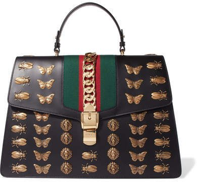 Sylvie Large Chain-embellished Leather Tote - Black