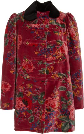 Alix of Bohemia London Raspberry Velvet Car Coat