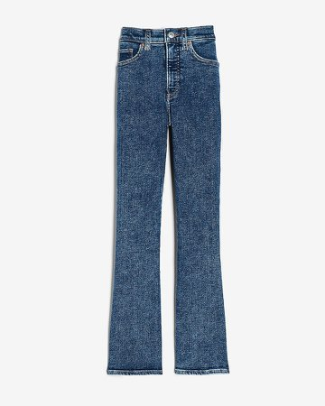 High Waisted Dark Wash Cropped Flare Jeans