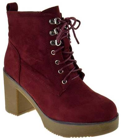 Nature Breeze Goldie 02 Womens Chunky Heel Lace Up Platform Side Zipper Booties | Ankle & Bootie