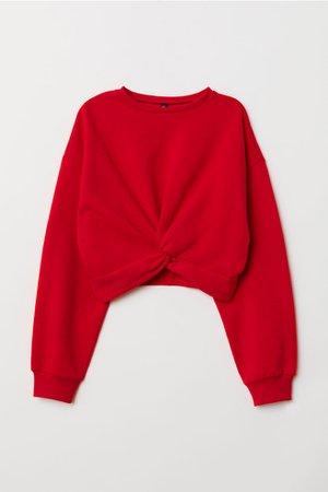 Tie-detail Sweatshirt - Red - Ladies | H&M US