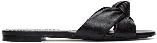 Black Bianca Flat Sandals