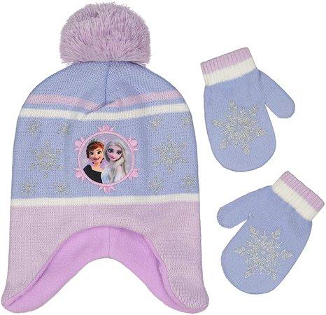 Amazon.com: Disney Girl Kids Winter Hat Gloves Set, Frozen Elsa and Anna Toddler Beanie, Purple, Mittens, Age 2-4: Clothing