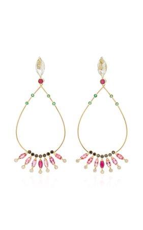 Carolina Neves- 18K Gold Multi-Stone Drop Earrings