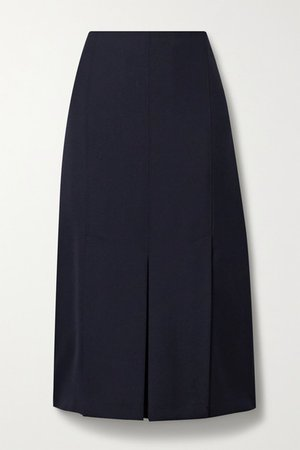 Pleated Twill Midi Skirt - Midnight blue