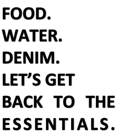 Food Water Denim Text