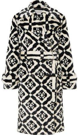 Stokes Printed Faux Fur Coat - Black