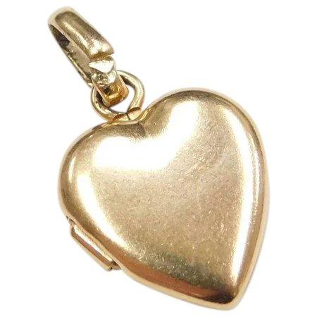 14k Gold Small Opening Heart Locker Charm / Pendant : Arnold Jewelers | Ruby Lane