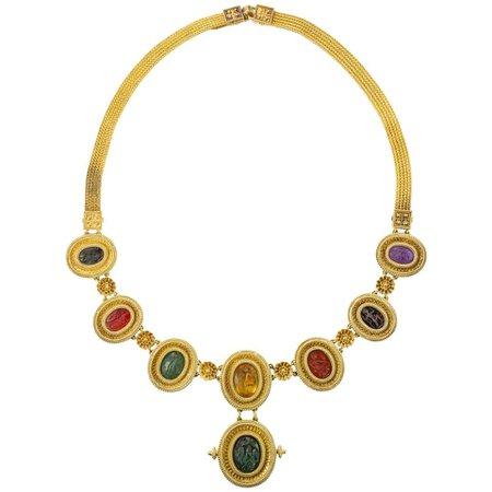 Important Victorian Hardstone Intaglio Necklace