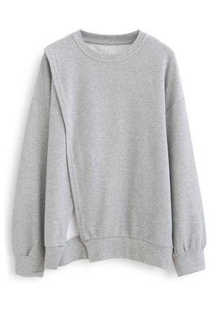 Cross Flap Front Oversized Sweatshirt in Grey - Retro, Indie and Unique Fashion