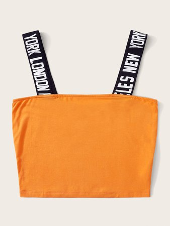 Neon Orange Lettering Tape Strap Top   SHEIN