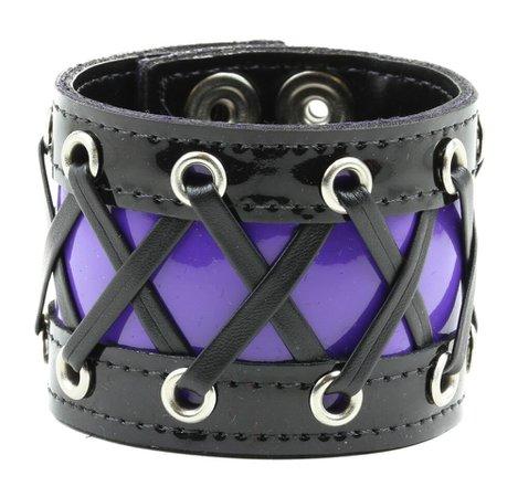 Purple Corset Lace Punk Cyber Goth Wrist Cuff Rockability Bracelet