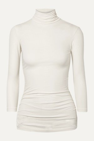 James Perse | Ruched stretch-cotton jersey turtleneck top | NET-A-PORTER.COM