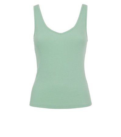 Light Green V Neck and Back Ribbed Vest | New Look