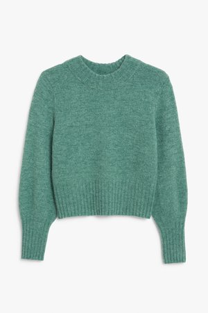 Rounded neck soft knit - Dark green - Jumpers - Monki WW