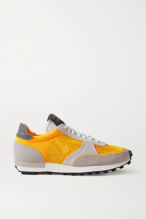 Daybreak Leather-trimmed Mesh And Suede Sneakers - Orange