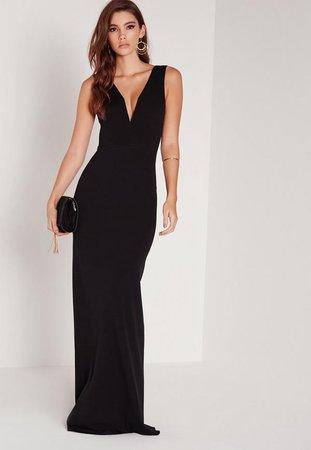 Petite Black V Plunge Scuba Maxi Dress | Missguided