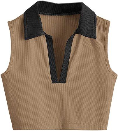 SheIn Women's Sleeveless Lapel Collar Crop Tank Tee Tops Solid Rib Knit Vest at Amazon Women's Clothing store
