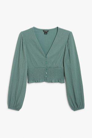 Shirred waist blouse - Green - Tops - Monki WW