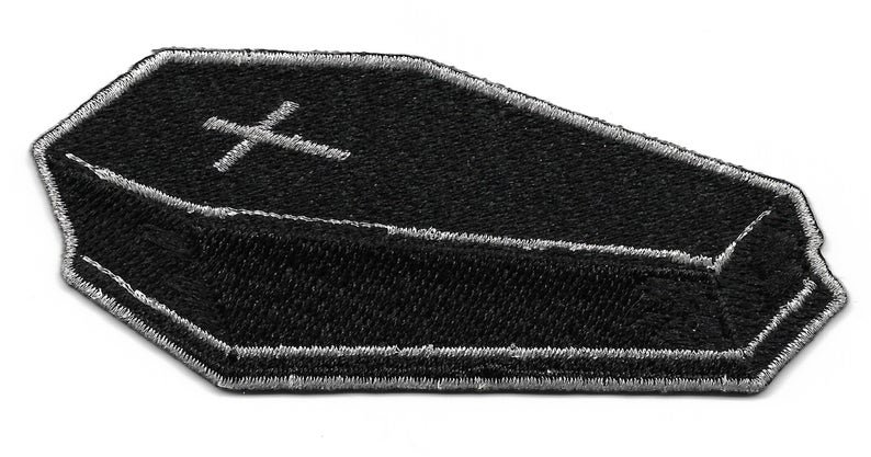 Black & Silver Coffin Embroidered Patch Iron On Applique   Etsy