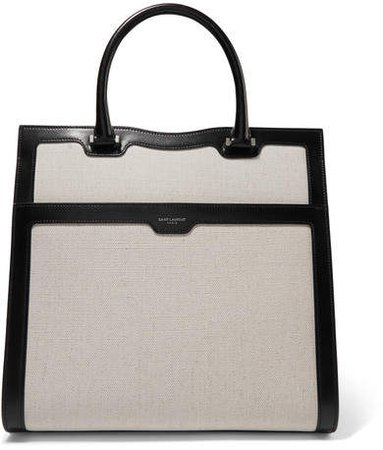 Uptown Two-tone Glossed-leather And Canvas Tote - Off-white