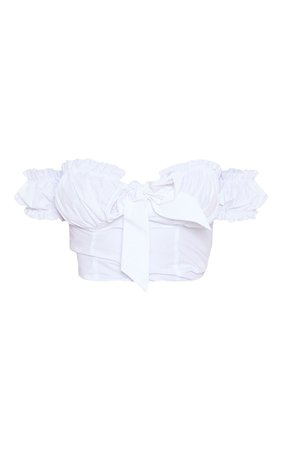 Petite White Frill Detail Crop Blouse   PrettyLittleThing