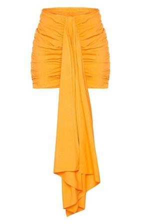 Orange Ruched Drape Front Mini Skirt | PrettyLittleThing