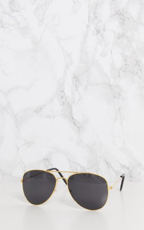 Gold Metal Aviator Sunglasses | Accessories | PrettyLittleThing