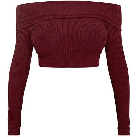 red ribbed long sleeve off shoulder crop top