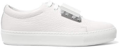 Adriana Plaque-detailed Textured-leather Sneakers - White