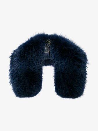 Mr & Mrs Italy Navy Fur Collar