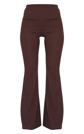 Chocolate Ribbed Flared Trouser | Trousers | PrettyLittleThing