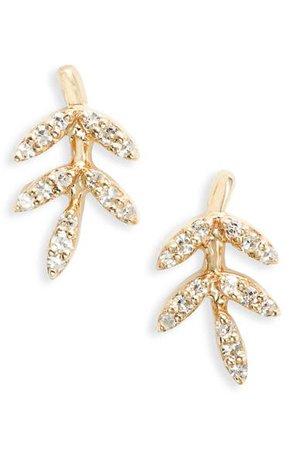 EF Collection Diamond Leaf Stud Earrings | Nordstrom