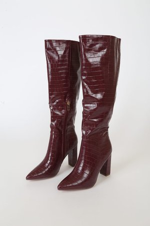 Burgundy Boots - Knee High Boots - Crocodile-Embossed Boots - Lulus