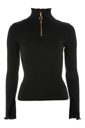 Half Zip Ribbed Funnel Neck Top | Topshop