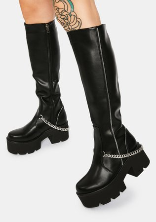*clipped by @luci-her* Lamoda Got Me In Stitches Knee High Boots   Dolls Kill