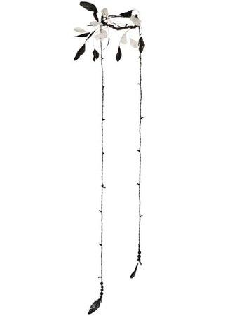Ann Demeulemeester feather necklace black 18018858430099 - Farfetch