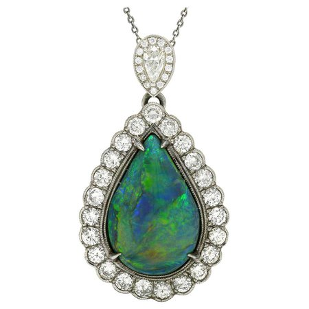 Important 16 Carat Black Opal and Diamond Necklace Pendant Australian Pinfire For Sale at 1stDibs
