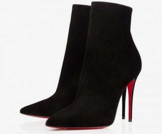 louboutin louboutins ankle boots boot so kate black suede heel heels heeled ankle