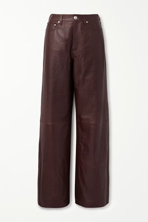 Leather Wide-leg Pants - Brown
