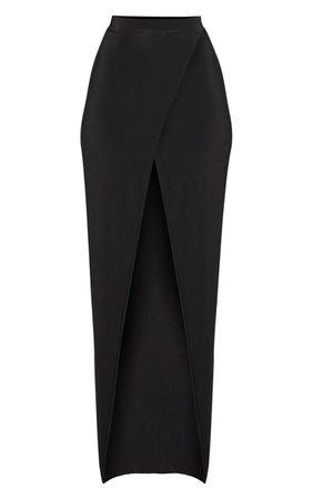 Black Slinky Wrap Front Maxi Skirt | PrettyLittleThing