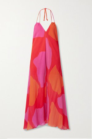 Printed Crepe De Chine Halterneck Maxi Dress - Red