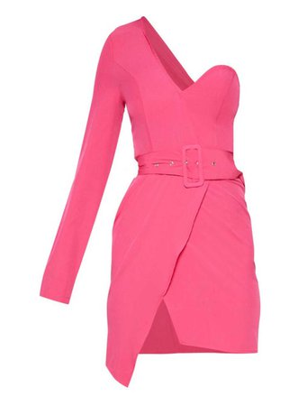 Hot Pink One Shoulder Belted Bodycon Dress