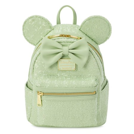 Minnie Mouse Sequined Loungefly Mini Backpack – Mint | shopDisney