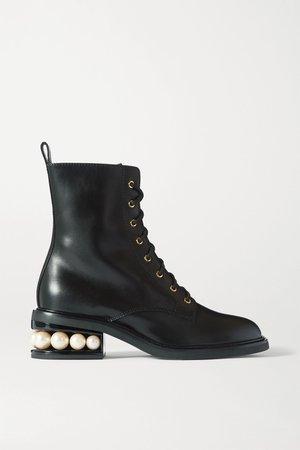 Black Casati embellished leather ankle boots | Nicholas Kirkwood | NET-A-PORTER