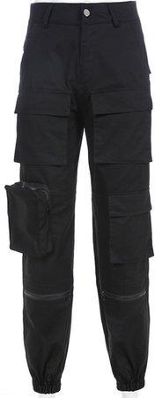 black pockets pants
